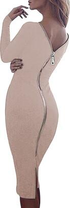 YMING Women Long Sleeve Dress Partywear Evening Dress Zipper on Back Club Dress for Winter Autumn Dress Burgundy S