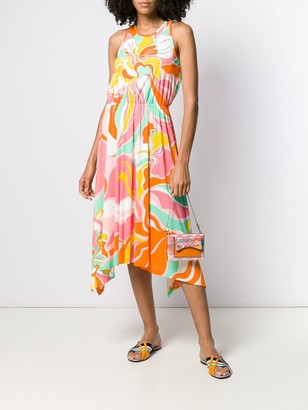 Emilio Pucci Rivera Print Asymmetric Gathered Dress