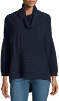 MICHAEL Michael Kors Cowl-Neck High-Low Ribbed Sweater, Navy