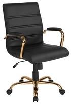 Kennison Ergonomic Conference Chair Brayden Studio Upholstery Color: Black, Frame Color: Gold