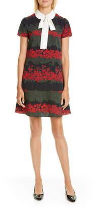 RED Valentino Tie Neck Floral Minidress
