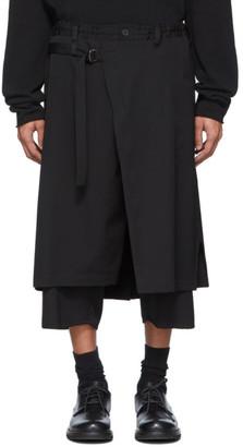 Yohji Yamamoto Black Wool Regular Wrapped Trousers