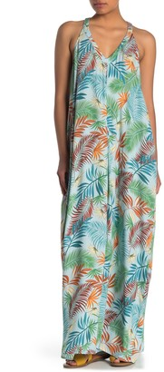 Love Stitch V-Neck Racerback Leaf Print Maxi Dress
