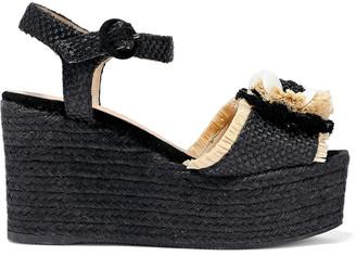 Castaner Efedra Embellished Woven Raffia Espadrille Wedge Sandals