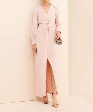 Current Air Women's Maxi Dresses BLUSH - Blush Knot-Front Slit-Hem Maxi Dress - Women & Petite