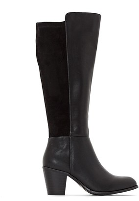 La Redoute Collections Plus Wide Fit Dual Fabric Knee-High Boots with High Heel
