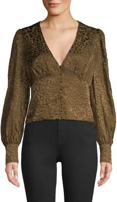 Lea & Viola Leopard-Print Long-Sleeve Top
