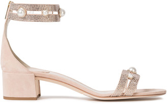 Rene Caovilla Rene' Caovilla Faux Pearl And Crystal-embellished Suede Sandals