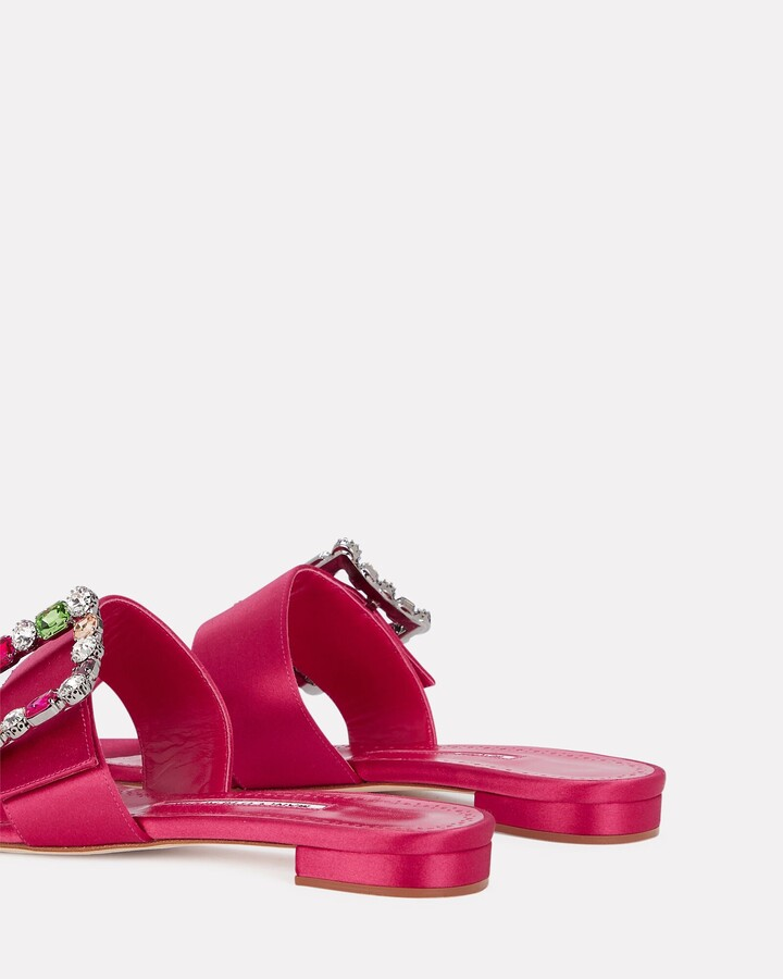 Thumbnail for your product : Manolo Blahnik Versa Crystal Buckle Satin Slide Sandals