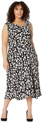 Adrianna Papell Plus Size Draped Pebble Crepe A-Line Dress (Black/Ivory) Women's Dress