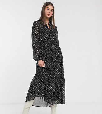 Vero Moda Tall maxi dress with tiered skirt in black check