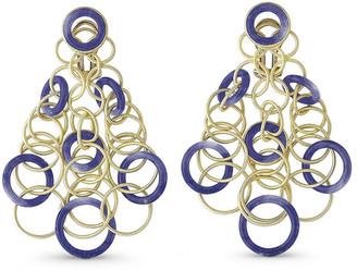 Buccellati Hawaii Lapis Circle Earrings in 18K Gold
