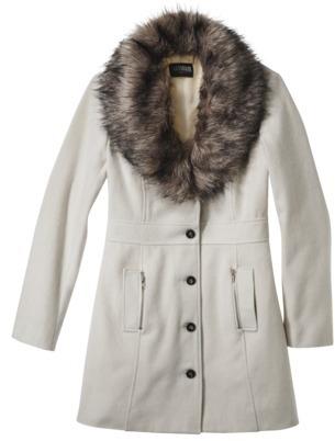 Women's Long Trench Coat w/ Fur Collar -Ivory