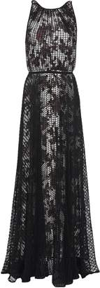 Missoni Layered Open-knit Cotton-blend And Printed Jersey Maxi Dress