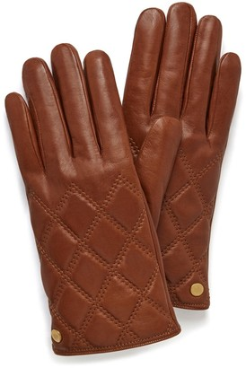 Mulberry Quilted Nappa Gloves Cognac Nappa Leather
