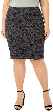 Liverpool Los Angeles Plus Reese Leopard Print Pencil Skirt