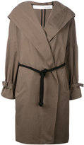 Isabel Benenato belted hooded coat