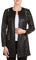 Peter Nygard Round Neck Open Front Faux-Leather Jacket