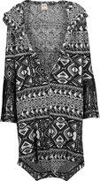Haute Hippie Leather fringe-trimmed intarsia-knit hooded coat