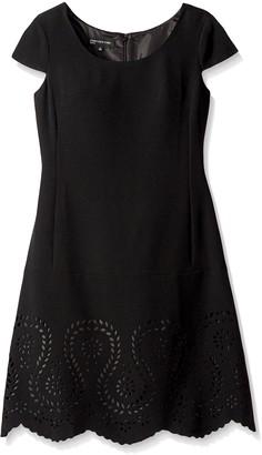 Jones New York Women's Cap Sleeve Embellished Hem Dress