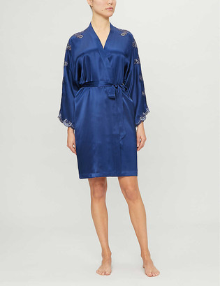 Nk Imode Nicole lace-trimmed satin-silk robe