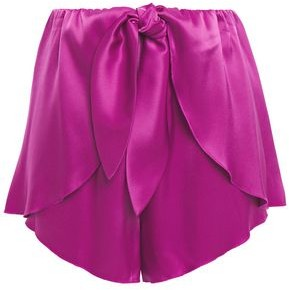Nanushka Naila Tie-front Layered Satin Shorts