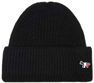 MAISON KITSUNÉ Tricolour Fox Ribbed Wool-blend Beanie Hat - Mens - Black