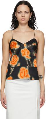 Meryll Rogge Black Satin Neon Roses Camisole