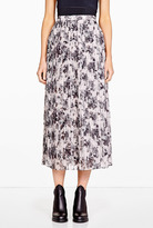 O'2nd Rose Print Pleated Long Skirt