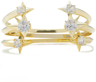 Noir Set Of Three Gold-tone Crystal Cuffs