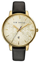 Ted Baker Paisley Mother-of-Pearl Analog & Date Leather-Strap Watch