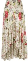 River Island Womens White floral print sequin maxi high-low skirt