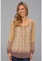 Miraclebody Jeans Paloma Woven Peasant Blouse w/ Body-Shaping Inner Shell (Mustard) - Apparel