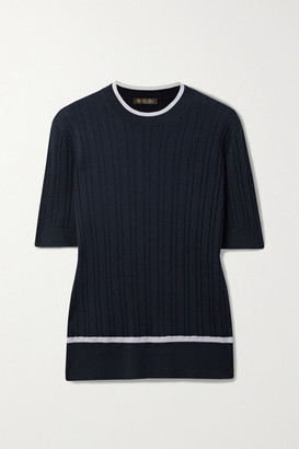 Loro Piana Benat Ribbed Cashmere And Silk-blend Top - Midnight blue