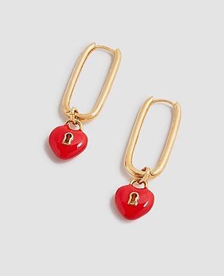 Ann Taylor Enamel Heart Lock Hoop Earrings