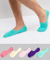 Asos Invisible Socks In Bright Colors & Branded Soles 5 Pack