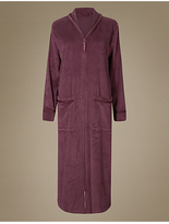 M&S Collection Fleece Zip Through Dressing Gown