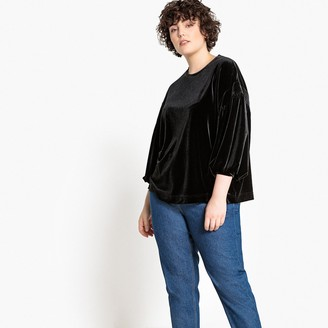 Castaluna Plus Size Draped Sleeve Velour Blouse