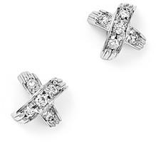Roberto Coin 18K White Gold X Pave Diamond Stud Earrings