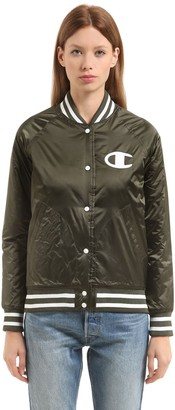 Champion Logo Detail Padded Nylon Bomber Jacket