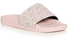 MCM Women's Logo Print Slide Sandals