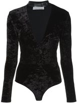 Fleur Du Mal leather choker bodysuit - women - Spandex/Elastane/Viscose - XS