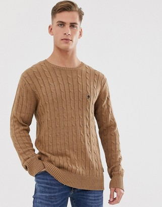 French Connection 100% cotton logo cable knit jumper-Tan