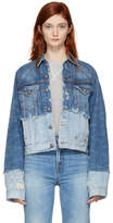 R 13 Blue Double Shredded Raglan Trucker Denim Jacket