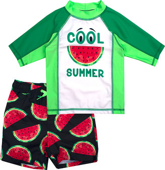Aeropostale p.s. from Boys' Board Shorts WHITE - Green 'Cool Summer' Rashguard Set - Boys