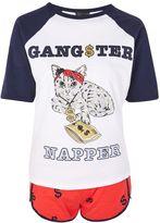 Topshop PETITE 'Gangster Napper' Cat Pyjama Set