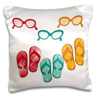 3drose 3dRose Cute Flip Flops With Matching Sunglasses Illustration - Pillow Case, 16 by 16-inch
