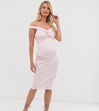 Asos DESIGN Maternity baby shower off shoulder knot detail midi dress-Pink