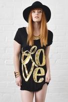 Lauren Moshi Piper Love Bracelet Swing Tee in Black