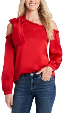 CeCe Ruffled One-Shoulder Bow Blouse